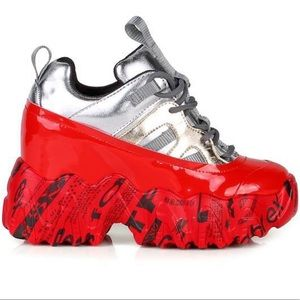 Anthony wang red/silver sneaker wedge